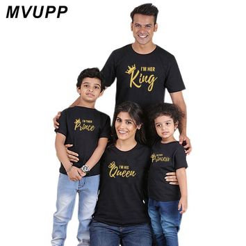 Cool family matching clothes outfits king queen prince princess tshirt for father mother daughter son look mommy and me clothing babyAT_93_12