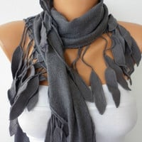 ON SALE - Women Pashmina  Scarf  - Cotton Scarf - - Cowl with Lace  Edge - Gray