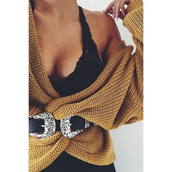 Wrap Sweater Mustard