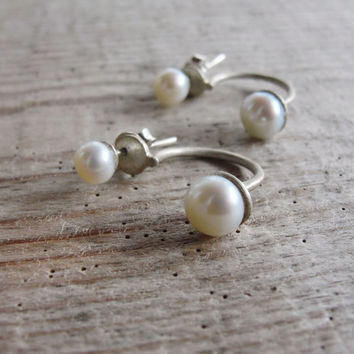 Sterling silver Double Pearl Earrings Pearl Ear Jacket Modern Pearl studs