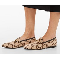 Gucci new women's cashmere double G jacquard loafers