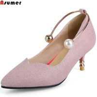 ASUMER pink fashion new women spring autumn pumps pointed toe shallow elegant ladies prom shoes high heels shoes big size 34-45