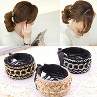 New Luxury Cute Women Fashion Gold Chain Hair Clip Barrette Ponytail Holder EY
