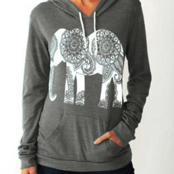 81d0d1b910ec Women Long Sleeve Cute Elephant Pattern Sweatshirt Ivory Ella Le