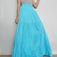 Women Ruffle Long Skirt , Casual Gypsy, Bohemian ,Soft Blue Cotton Blend (Skirt *B12).