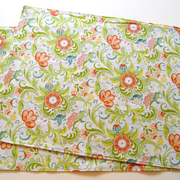 Large Cloth Placemats - Set of 2 - Coral Teal Yellow Blue Green Flowers -  Reversible