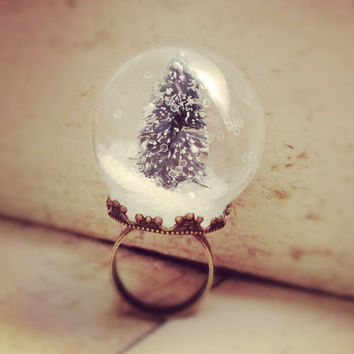 Snow Globe Ring GLASS ring Pine Tree ring Christmas Tree Ring WINTER SNOW Antique bronze  vintage style ring