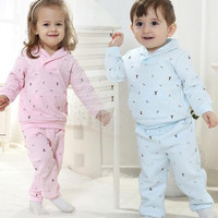 New Arrival 2014 Baby Toddler Clothing High Quality Cotton Silk Sweet long-sleeved Leisure Suit Outfits For Spring/Autumn 4set/lot