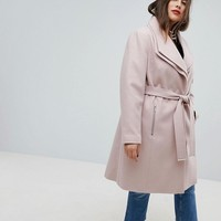 New Look Curve Midi Double Collar Coat at asos.com
