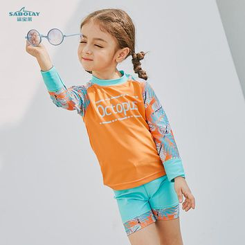 SABOLAY Baby Girls Swimsuit Bathing Suits UV UPF50 shirt + trunks Swimwear for Kids 3-8Y Child Boy Swimming Suit