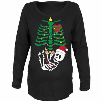 Christmas Tree Baby Skeleton Cookies Black Maternity Soft Long Sleeve T-Shirt