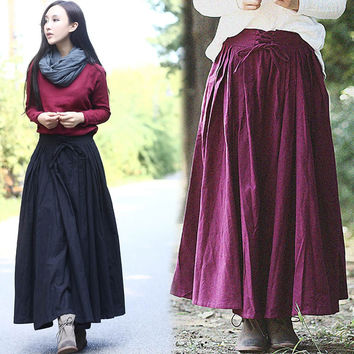 Solid Color Drawstring Waist Pleated Swing Maxi Skirt