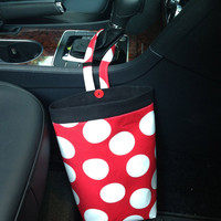 Car Trash Bag RED POLKA DOTS, Women, Men, Car Litter Bag, Auto Accessories, Auto Bag, Trash Bag, Car Caddy
