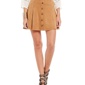 Jolt Button-Front Faux-Suede Skater Skirt | Dillards