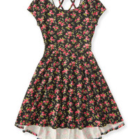 Kids' Floral Lattice-Back Hi-Lo Dress - PS From Aeropostale