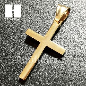 CREYA8C Mens Iced Out 316L Stainless steel Gold Silver Jesus Cross Small Pendant SS011