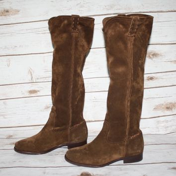 New FRYE Cara Tall Suede Slouch Boot Long Boot Size 5.5