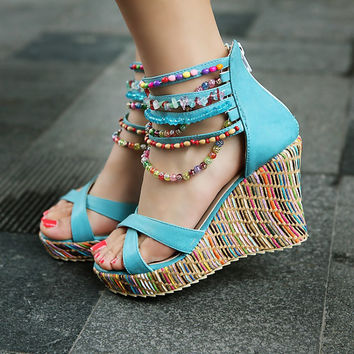 Beads Ankle Wrap Platform Sandals Wedge Heels 9860