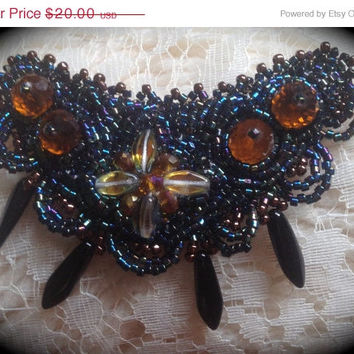 ON SALE Brooch, Black and Amber, BOHO, Flapper, Vintage Look, Amber Crystals, Black Ebony Daggers