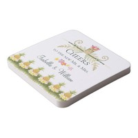 Elegant Floral Tropical Pineapple Summer Wedding Square Paper Coaster