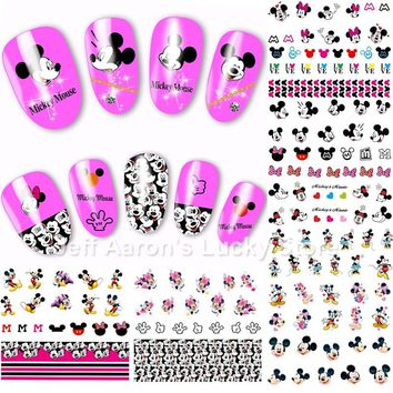 12PCS/lot Mickey cartoon mouse water transfer nail art sticker decals for nails decoration accessoires beauty manicure tools