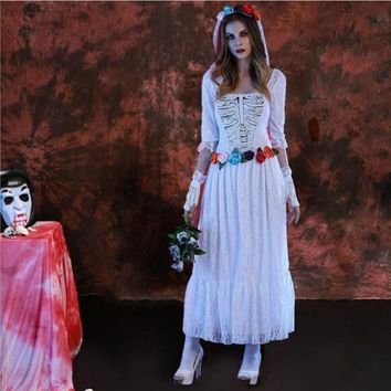 white zombie costume for women white skull dress