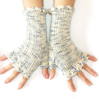 Woman Fingerless Gloves Ice Queen White and by HandMadeInItaly