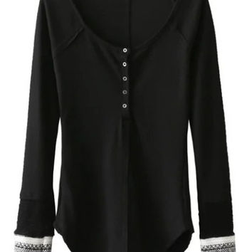 Black Button Up Contrast Ribbed Cuff Long Sleeve T-shirt