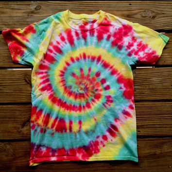 Hippie Rasta Tie Dye T Shirt Red Green Yellow