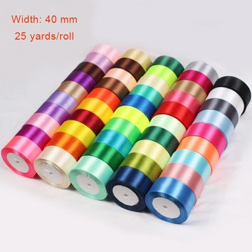 40mm 25 Yards Cheap Satin Ribbon For Arts Crafts & Sewing Christmas Wedding Party Decoration Gift Wrap Handmade DIY Material