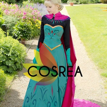Disney Frozen Elsa Coronation Cosplay Costume 5 Piece Set With Free Shipping Worldwide