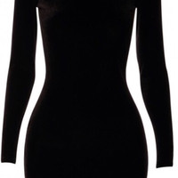 Ava Velvet Bodycon Dress Black