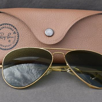 1970's 58[]14mm VINTAGE B&L RAY BAN AVIATOR SUNGLASSES