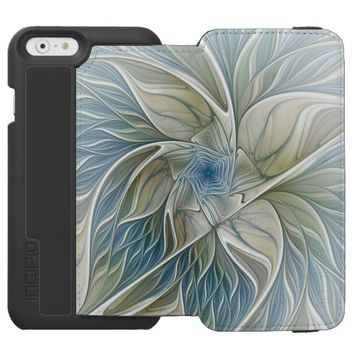 Floral Dream Pattern Abstract Blue Khaki Fractal iPhone 6/6s Wallet Case