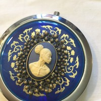 Blue Vintage Cameo Mirror Compact/Free Shipping