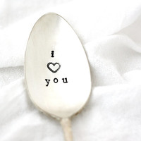 I Love You, Hand stamped spoon with sweet heart. Vintage silverplated utensil for a unique gift idea. Ships in gift bag, MADE TO ORDER.