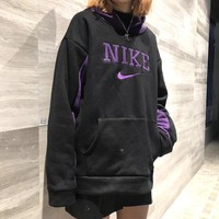 """Nike"" Unisex Retro Embroidery Letter Stitching Multicolor Hooded Long Sleeve Oversize Sweater Couple Sweatshirt Hoodie Tops"