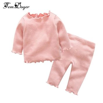 Tem Doger Baby Clothing Sets 2017 Autumn Winter Newborn Baby Boys Girls Clothes Infant Knitted Solid Tops Pants 2Pcs Outfits Set