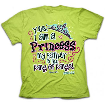 Cherished Girl Yes I am a Princess Crown Girlie Christian Bright T Shirt