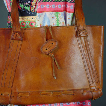 60s Leather Bag Vintage 1960s Chestnut BrownTote Satchel Laptop Handmade Hippie Boho