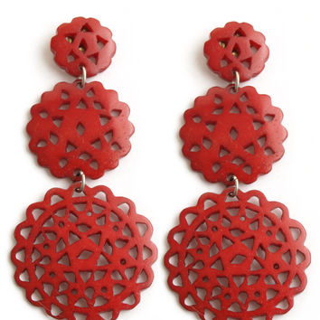 Darling Doily Earrings Red