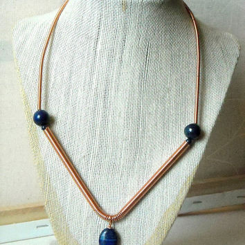 Blue lapis and copper necklace, blue and copper necklace, blue jewelry, copper jewelry, wire wrapped jewelry, gemstone jewelry,