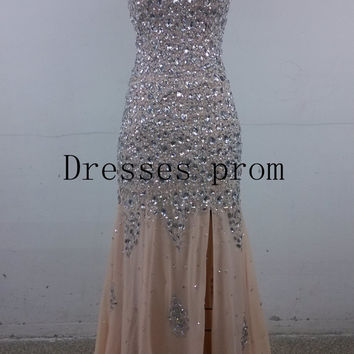 2014 latest long chiffon prom dresses with rhinestones,cheap sparkly gowns for holiday party,chic elegant evening gowns on sale.