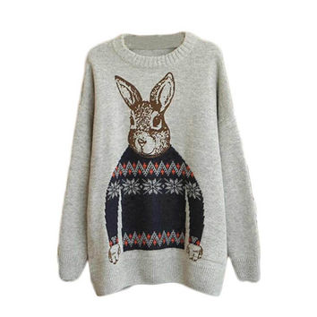 Women Clothing Vintage Women Animal Rabbit Printted Knitted Casual Loose Pullover Sweater INY66