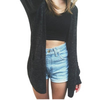 Women's Long Sleeve Sweater Knitted Cardigan