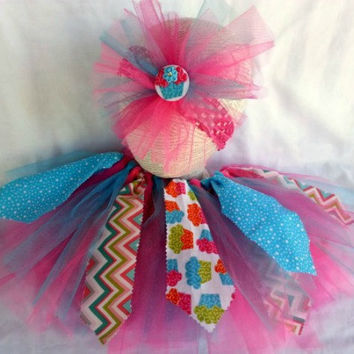 Birthday Tutu and Headband Set - 2 to 3 Years Tutu - Cupcake Chevron Tutu - Tie-On Shabby Chic Tutu - Scrappy Tutu - Hot Pink Aqua -