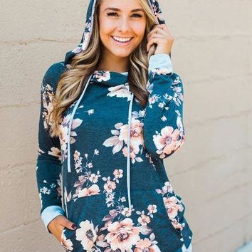 Blue Hooded Printed Sweater