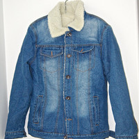 FREE Shipping (USA) Blue Trucker Sherpa Denim Jacket Size Small Women XS Men rancher jean jacket Old Stock 90s 80s style fleece denim jacket