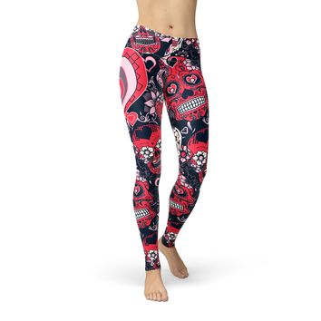 Valentine's Day Leggings  - Sugar Skull Love