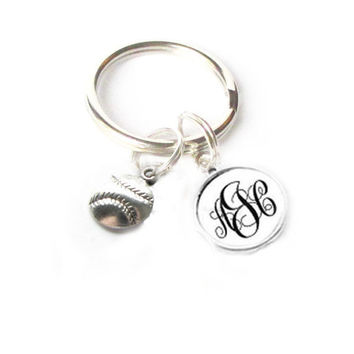 Baseball Keychain, Personalized Monogram Keychain, Sports Keychain